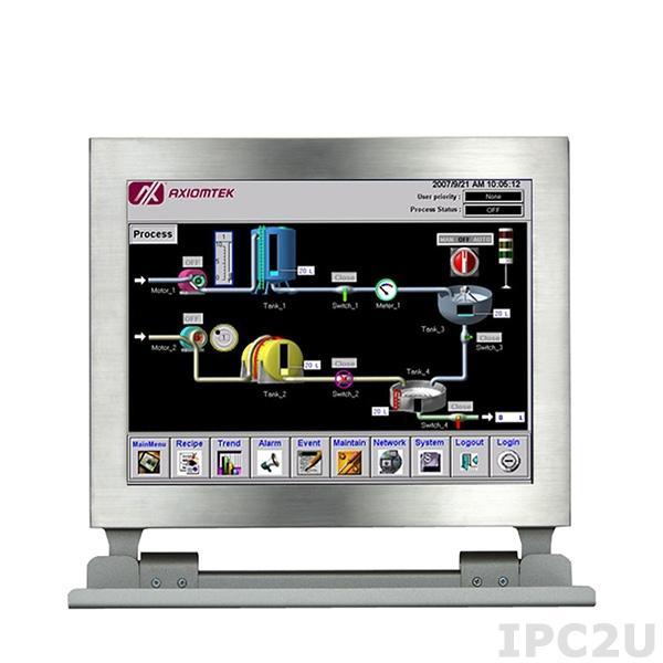 """GOT-812LR-834-DC Защищенный безвентиляторный панельный компьютер, корпус IP66, 12.1"""" XGA дисплей 1000 нит, резистивный экран, Intel Atom E3827 1.75ГГц, 2x204-pin DDR3 SO-DIMM, 1x2.5"""" SSD, 1xCF , 2xCOM, 2xUSB 2.0, 1xLAN, 2xPCle Mini Card, питание 9-36В DC"""