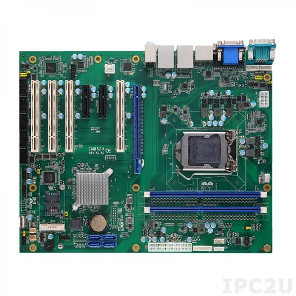 IMB524VDHGGA-H310 Процессорная плата ATX Socket LGA1151 8-го поколения Intel Core i7/i5/i3/Celeron, Intel H310, DDR4, DVI-D, HDMI, VGA, DP, 2xGbE LAN, 6xCOM, 4xUSB 3.1, 5xUSB 2.0, 4xSATA-600, Audio, 1xPCIe x16, 2xPCIe x4, 4xPCI