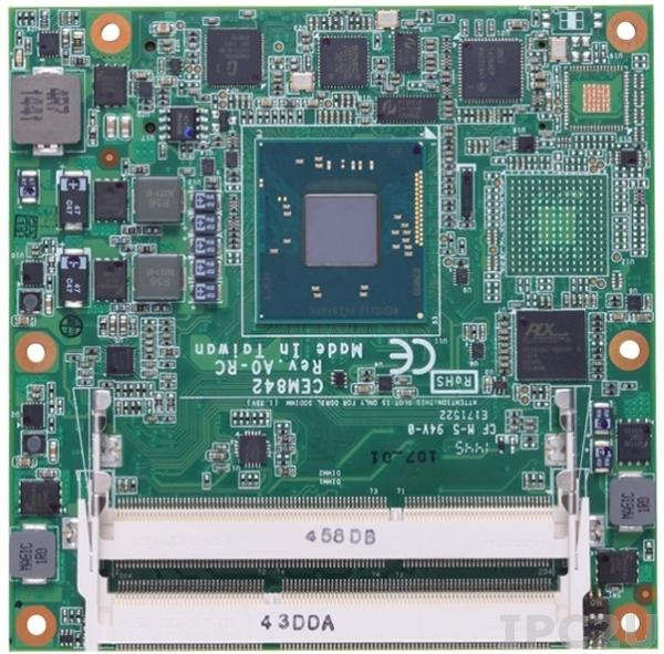 CEM842PVG-N2807 Процессорная плата COM Express Type 6 с процессором Intel Celeron N2807 1.58ГГц, DDR3L, VGA/DDI/LVDS, Gigabit LAN, 8xUSB 2.0, 1xUSB 3.0, DIO, 2xSATA-300, Audio