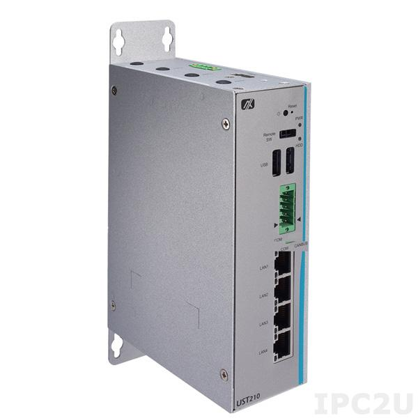 UST210-83K-FL-E3940-CANCOM-POE Безвентиляторный встраиваемый компьютер с Intel Atom x5-E3930 1.3ГГц, DDR3L, VGA, 2xGbE LAN, 1xCANBus 2.0, 2xUSB 2.0, DIO, PCIe Mini, mSATA, питание 12/24В DC c Axiomtek Smart Ignition