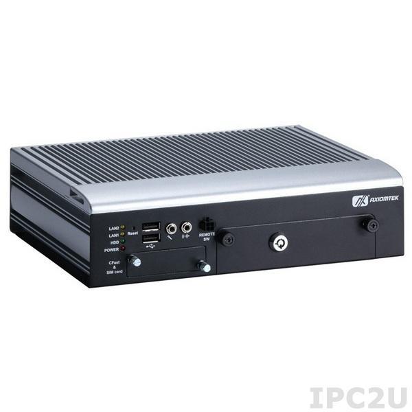 "tBOX323-835-FL Встраиваемый компьютер с Intel Atom E3845 1.91ГГц, 4Гб DDR3L RAM, HDMI/VGA, 2xM12 GB LAN, 5xCOM, USB 2.0, SATA2, разъем CFast, отсек для 2.5"" HDD, PCI Express Mini Card, SIM, -40...+70"