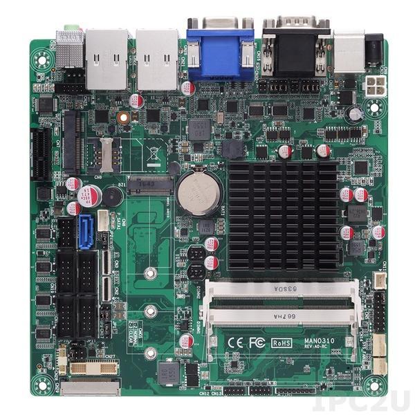 MANO310VHGGA-N3350 Процессорная плата Mini-ITX SBC, процессор Intel Celeron N3350 2.5ГГц, 2xDDR3L-1600 SO-DIMM 8Гб, 1xSDXC, 2xPCI, 1xSIM, 1xPS/2, 6xCOM, 1xSATA-600, 1xM.2, 6xUSB, 1xVGA, 1xHDMI, 1xLVDS, 2xLAN, Аудио