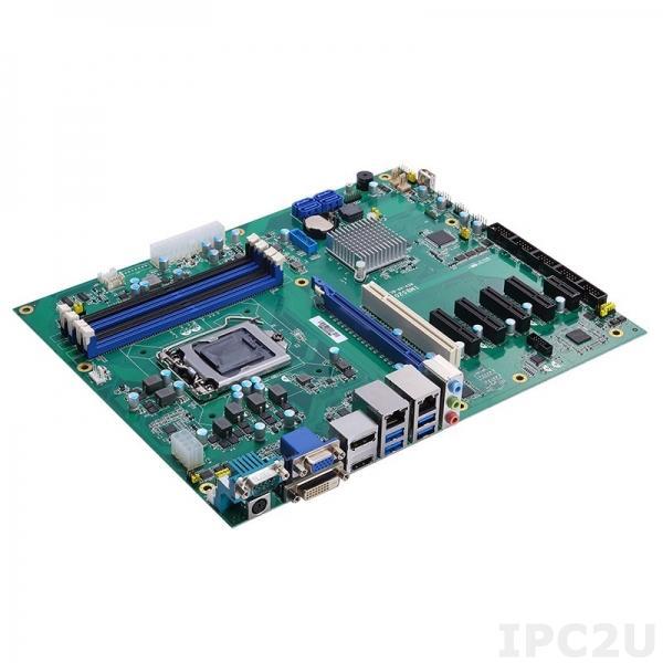 IMB521-C246 Процессорная плата ATX Socket LGA1151 8-го поколения Intel Core i7/i5/i3/Celeron, Intel C246, DDR4, DVI-D, HDMI, VGA, DP, 2xGbE LAN, 6xCOM, 6xUSB 3.1, 7xUSB 2.0, 4xSATA-600 (RAID 0/1/5/10), Audio, 1xPCIe x16, 4xPCIe x4, 1xPCIe x1, 1xPCI
