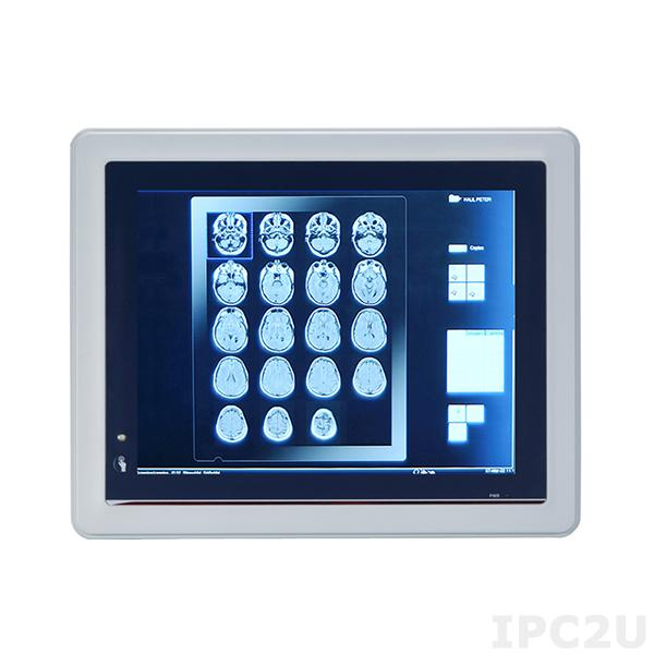 "MPC102-845-DC Безвентиляторная медицинская панельная рабочая станция 10.4"" TFT LCD, резистивный сенсорный экран, Intel Celeron N3060, 1xDDR3L SO-DIMM, отсек 1xSATA HDD, 2xCOM, 2xUSB 2.0, 2xUSB 3.0, 2xGbE LAN, 2xPCIe Mini, Аудио, питание 9...36В DC"