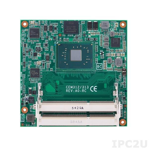 CEM313PG-N3350 Процессорная плата COM Express Type 6 с процессором Intel Celeron N3350 2.4ГГц, DDR3L-1600, eMMC, LVDS/DDI, LAN, 8xUSB 2.0, 4xUSB 3.0, 2xSATA-600,LPC, SPI, 2xSerial TX/RX, 1xI2C, SMBus, Audio