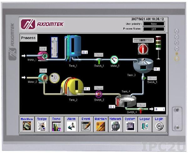 "P1197E-861 w/PCIe Панельная рабочая станция с 19"" TFT LCD, резистивный сенсорный экран, Intel Core i7/i5/i3/Pentium/Celeron, Intel H61, 2xDDR3 SO-DIMM, 2x 2,5"" SATA HDD, 4xCOM, DVI-D, VGA, 8xUSB 2.0, 2xGbe LAN, 1xPCIe x4, Аудио, питание 100-240В AC 270Вт"