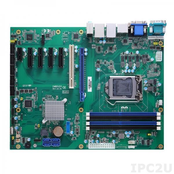 IMB520VDHGGA-Q370 Процессорная плата ATX Socket LGA1151 8-го поколения Intel Core i7/i5/i3/Celeron, Intel Q370, DDR4, DVI-D, HDMI, VGA, DisplayPort, 2xGbE LAN, 6xCOM, 6xUSB 3.1, 7xUSB 2.0, 4xSATA-600 (RAID 0/1/5/10), Audio, 1xPCIe x16, 4xPCie x4, 1xPCIe x1, 1xPCI