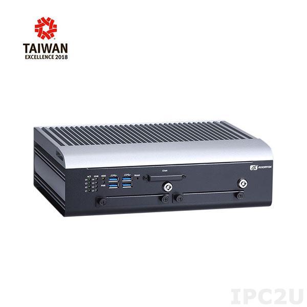 "tBOX324-894-FL-i3-DIO-12/24VDC Встраиваемый компьютер с Intel Core i3-7100U 2.4ГГц, до 32Гб DDR4 RAM, VGA/DVI-I, 4xM12 LAN, 3xCOM, 1xCOM/CAN, 4xUSB, DIO, Audio, разъем CFast, отсеки 2x 2.5"" SATA HDD, SIM слот, 3x PCIe Mini, 9...36В DC"