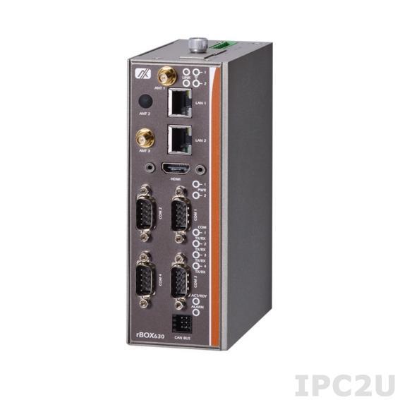 rBOX630-FL-DC Встраиваемый компактный компьютер для монтажа на DIN-рейку, процессор RISC ARM Cortex-A9 800МГц, 1Гб DDR3, HDMI, LAN, GB LAN, 4xCOM, USB, 2xCAN 2.0, 8xDIO, SDHC слот, 12...48В, -40..70C, Linux