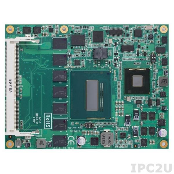 CEM880PVG-i5-4422E Процессорная плата COM Express Type 6, Intel Core i5-4422E 1.8Ггц, Intel QM87, DDR3L RAM до 8Гб, VGA/LVDS, 1xGigabit LAN, 4xSATA-600, 8xUSB 2.0, 4xUSB 3.0, 1xPCIex16, 8xPCIex1, DIO, Audio, TPM