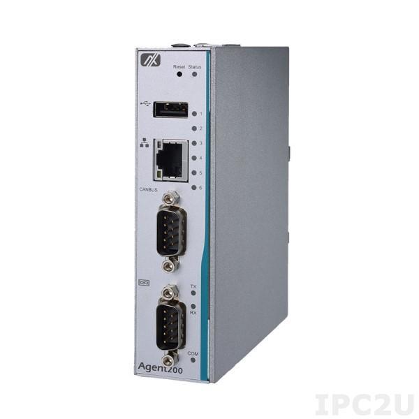 Agent200-FL-DC Встраиваемый безвентиляторный компьютер с RISC-процессором i.MX6UltraLite, ARM Cortex-A7 528МГц, 256МБ DDR3 SDRAM, 4ГБ eMMC Flash, LAN, COM, USB 2.0, 4xDI/4xDO, CANBus, 2xmPCIe, SIM слот, IP40, Emb Linux (Yocto), 9...48VDC-in, -40...+70C
