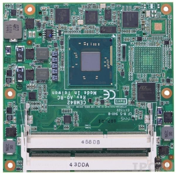 CEM843PVG-E3845 Процессорная плата COM Express Type 6 с процессором Intel Atom E3845 1.91ГГц, DDR3L, VGA/DDI/LVDS, Gigabit LAN, 8xUSB 2.0, 1xUSB 3.0, DIO, 2xSATA-300, Audio