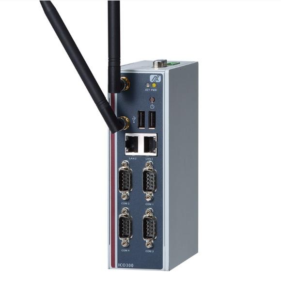 "ICO300-E3815-DIO-PB-DC Встраиваемый компьютер с Intel Atom E3815 1.46Ггц, 4 x RS-232/422/485, 2 x 10/100/1000 Ethernet, 1 x CF, 1 отсек SATA 2.5"", VGA, 1xSIM, 2xUSB, DIO, напряжение питания 12-24В DC, с кнопкой питания"