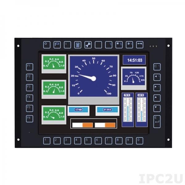 "GOT710S-837-R-E3845-24-110V/kp Безвентиляторный панельный компьютер для железнодорожного транспорта 10.4"" SGVA, резистивный сенс.экран, Intel Atom E3845 1.91ГГц, 4Гб DDR3, 16Гб flash, 2xM12 GbE LAN, 1xM12 COM, 2xM12 USB 2.0, CAN, DIO, mSATA, 2xPCIe Mini, 24-110VDC-in,с клавиатурой"