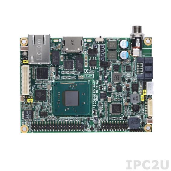 PICO840HGA-E3845 w/acc Процессорная плата PICO840 с процессором Intel Atom E3845 1.91ГГц, LVDS/HDMI, Gigabit Ethernet, 2xCOM, 4xUSB, Audio, с интерфейсом ввода/вывода AX93283, радиатор, кабели
