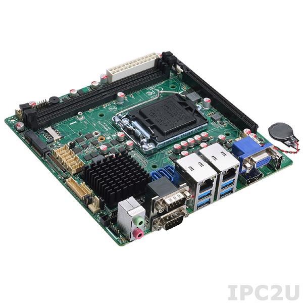 MANO500VHGGA Процессорная плата Mini-ITX сокет LGA1151, Intel H110, 2x288-pin DIMM DDR4-2133, 6xCOM, 8xUSB, 2xGbE LAN, HDMI, VGA, DP, LVDS, 3xSATA III, 1xmSATA, 1xPCIe x16, 1xMini PCIe, 1xSIM