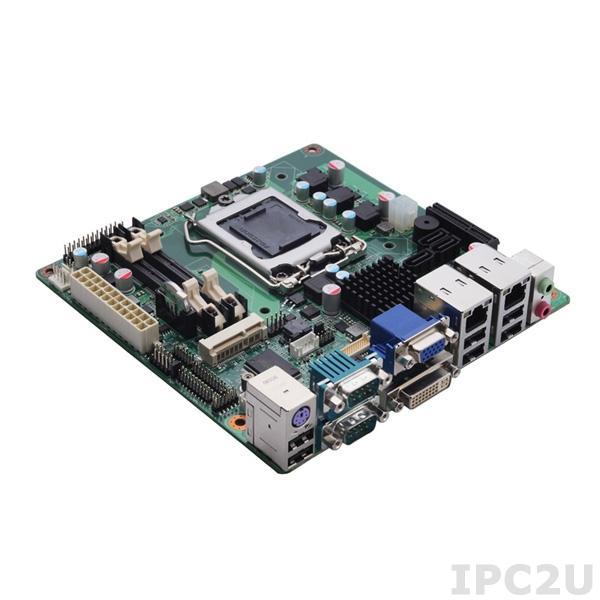 MANO861VGGA Процессорная плата Mini-ITX Socket LGA1155 Intel, Чипсет H61, Core i3/i5/i7, VGA/DVI-D/LVDS, 2xGigabit LAN, HD Audio, 6xCOM, 6xUSB, 3xSATA, PCIe x4