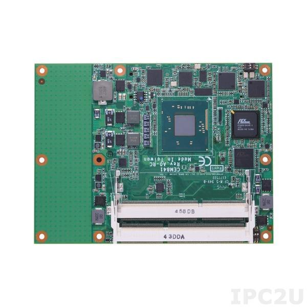 CEM841VG-N2807 Процессорная плата COM Express Type 6 с процессором Intel Celeron N2807 1.58ГГц, DDR3L, VGA/LVDS, Gigabit LAN, 8xUSB 2.0, IDE, LPC, DIO, 1xSATA-300, 1xPCIe x4, 4xPCIe x1, Audio