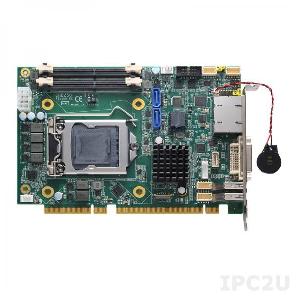 SHB250RDGG-Q370 w/PCIe x4 Процессорная плата PICMG 1.3 половинного размера, сокет LGA1151 для Intel Coffee Lake Core i7/i5/i3, Intel Q370, до 64Гб DDR4, DVI-I/DP, 2xGbE LAN, 2xRS-232/422/485, 4xUSB 3.1, 4xUSB 2.0, 2xSATA-600, 1xPCIe x16, 1xPCIe x4, M.2 2242 Key M, Audio