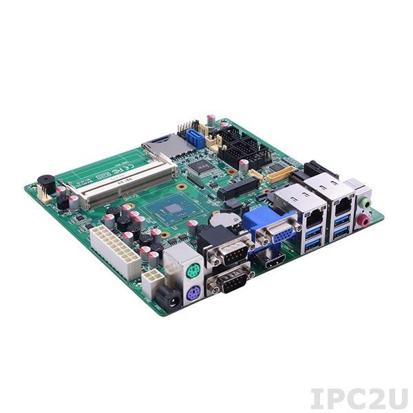 MANO300 Процессорная плата Mini-ITX, процессор Intel Celeron N3160 2.24ГГц, 2x204-pin SO-DIMM DDR3L-1333, SDXC slot, 6xCOM, 6xUSB, 2xGbE LAN, 1xSATA III, mSATA, 1xMini PCIe, 1xPCIe x1, DIO, Аудио
