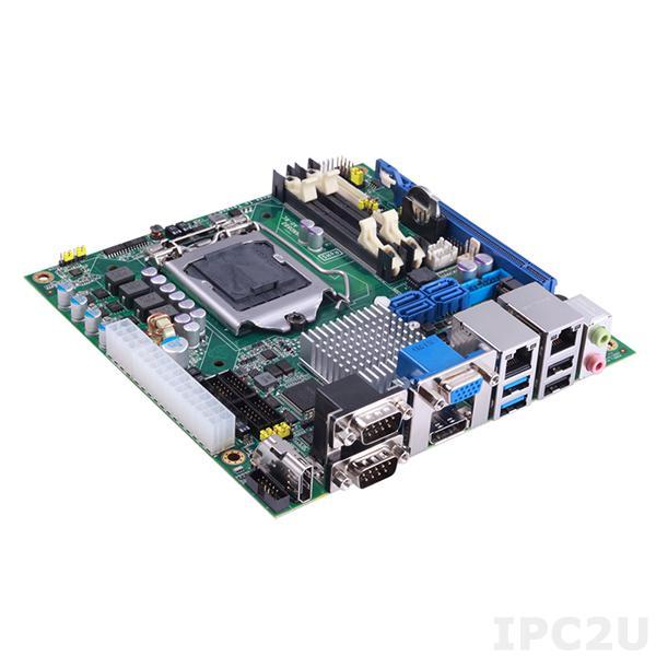MANO882VPHGGA Процессорная плата Mini-ITX с поддержкой Intel Xeon E3-v3 / Core i7/ i5/ i3/ Celeron, сокет LGA1150, чипсет Intel C226, HDMI/Display Port/ VGA/ LVDS, 2xGB LAN, 6xCOM, 4xUSB 3.0, 6xUSB 2.0, 4xSATA-600, PCIe x16, PCIe Mini Card, SIM слот, Audio