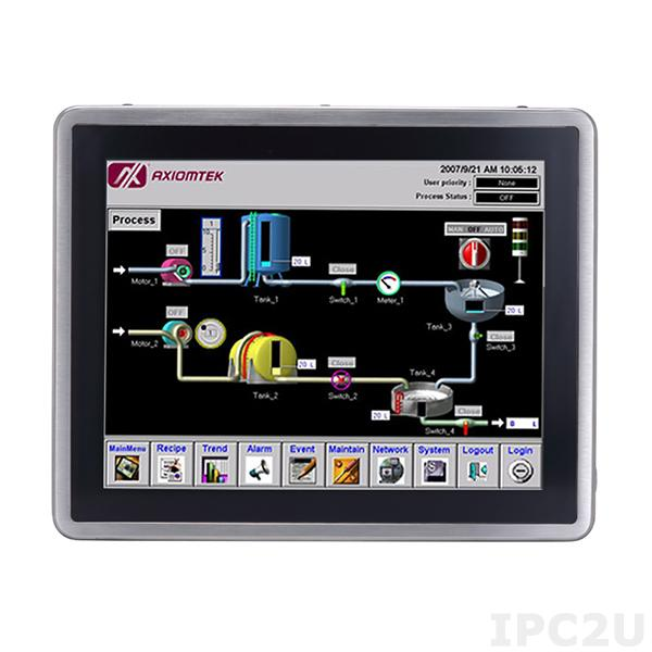 "GOT-815L-511-C-DC Защищенный безвентиляторный панельный компьютер, корпус IP66, 15"" XGA дисплей 420 нит, емкостный сенсорный экран, Intel Core i5-7300U, 1x260-pin SO-DIMM DDR4-2133, 1x2.5"" SSD, 2xCOM, 4xUSB 2.0, 1xGbe LAN, 2xPCle Mini Card, питание 9-36В DC"