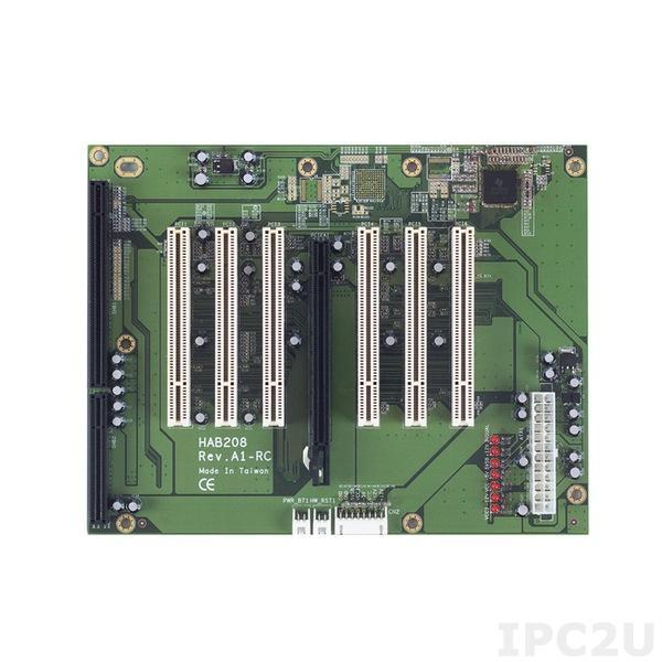 HAB208-RC Объединительная плата PICMG 1.3, 8 слотов, 1xPICMG, 1xPCIex16, 6xPCI