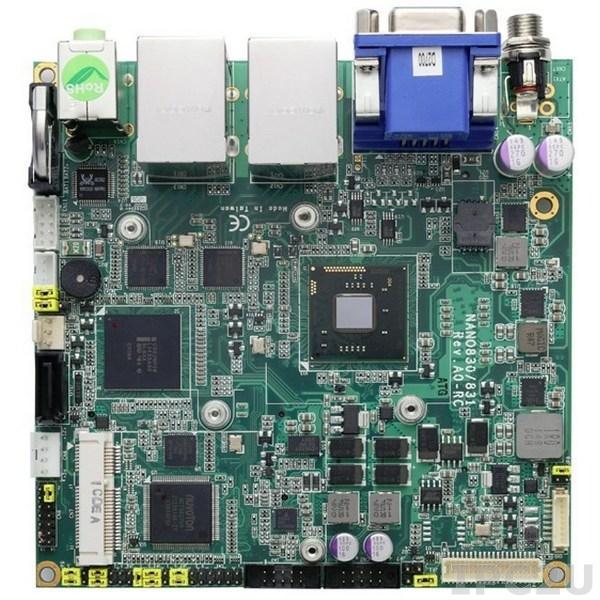 NANO830VPGGA-D2550 Процессорная плата Nano-ITX Intel Atom D2550 1.86ГГц + Intel NM10 с DDR3, VGA/DisplayPort/LVDS, 2xGigabit LAN, 2xCOM, 6xUSB, CFast, Audio