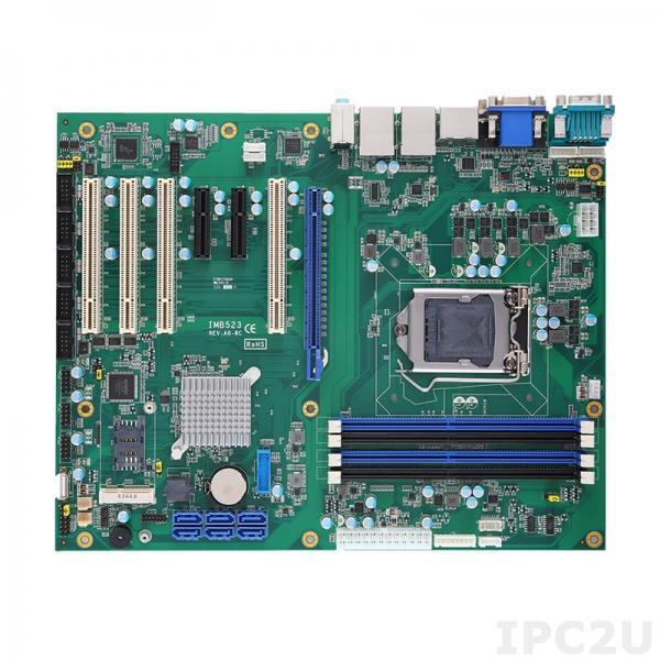 IMB523RVDHGGA-Q370 Процессорная плата ATX Socket LGA1151 9/8-го поколения Intel Core i7/i5/i3/Celeron, Intel Q370, 4x288-pin DIMM DDR4, 6xCOM, 6xUSB 3.1, 7xUSB 2.0, 2xGbE LAN, DVI-D, HDMI, VGA,DisplayPort, 6xSATA-600 (RAID 0/1/5/10), Audio, 1xPCIe x16, 2xPCIE x4, 4xPCI