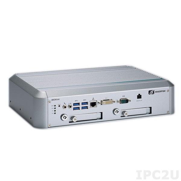 """tBOX500-510-FL-i5-TVDC Встраиваемый компьютер для транспорта с Intel Core i5-7300U 2.6-3.5ГГц, DDR4, DVI-I, GbE LAN, COM, 4xUSB 3.0, отсеки 2x2.5"""" SATA, mSATA, Audio, 9-36 В DC, -40...+70C"""