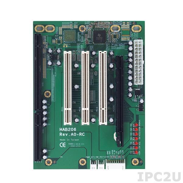 HAB206-5P3-RC Объединительная плата PICMG 1.3, 5 слотов, 1xPICMG, 1xPCIex16, 3xPCI,