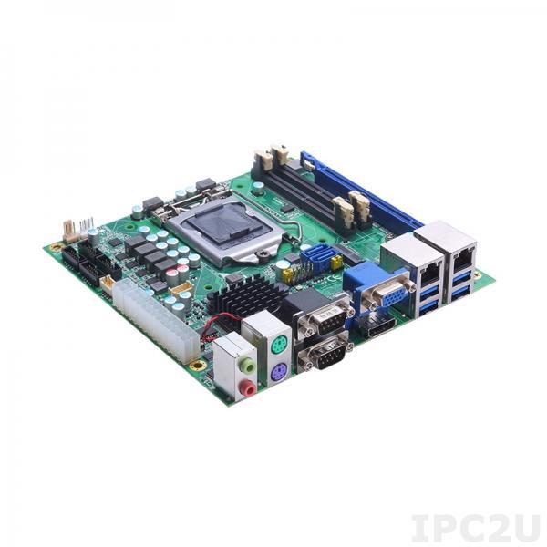 MANO523PHGGA-Q370 Процессорная плата Mini-ITX сокет LGA1151 для Intel Core i7/i5/i3 9/8 поколения, Intel Q370, 2x260-pin SO-DIMM DDR4-2666/2400, DP++/eDP/VGA, 2xGbE LAN, 6xCOM, 4xUSB 2.0, 4xUSB 3.0, 2xSATA III, 1xPCIe x16, M.2 Key E, M.2 Key M