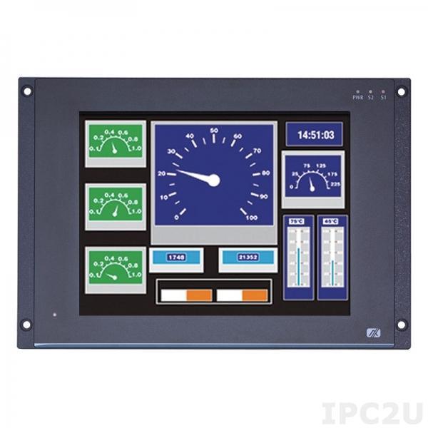 """GOT712S-837-R-E3845-24-110VDC Безвентиляторный панельный компьютер для железнодорожного транспорта 12.1"""" XGA, резистивный сенсорный экран, Intel Atom E3845 1.91ГГц, 4Гб DDR3, 16Гб flash, 2xM12 GbE LAN, 1xM12 COM, 2xM12 USB 2.0, CAN, DIO, mSATA, 2xPCIe Mini, 24-110VDC-in"""