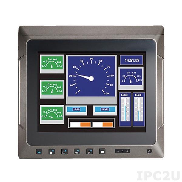 """GOT-610-837-R Безвентиляторный панельный компьютер для транспорта 10.4"""" XGA, резистивный сенсорный экран, Intel Atom E3845 1.9ГГц, 4Гб DDR3, 16Гб flash, 1xmSATA, 1xRS-232/422/485, 1xGbE LAN, 4xUSB 2.0, Аудио, DIO, CAN, питание 9-60В DC"""