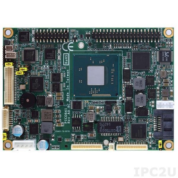 PICO841VGA-E3815 w/acc Процессорная плата PICO841 с процессором Intel Atom E3815 1.46ГГц, LVDS/VGA, Gigabit Ethernet, 2xCOM, 4xUSB, Audio, с интерфейсами ввода/вывода AX93283, AX93267, радиатор, кабели