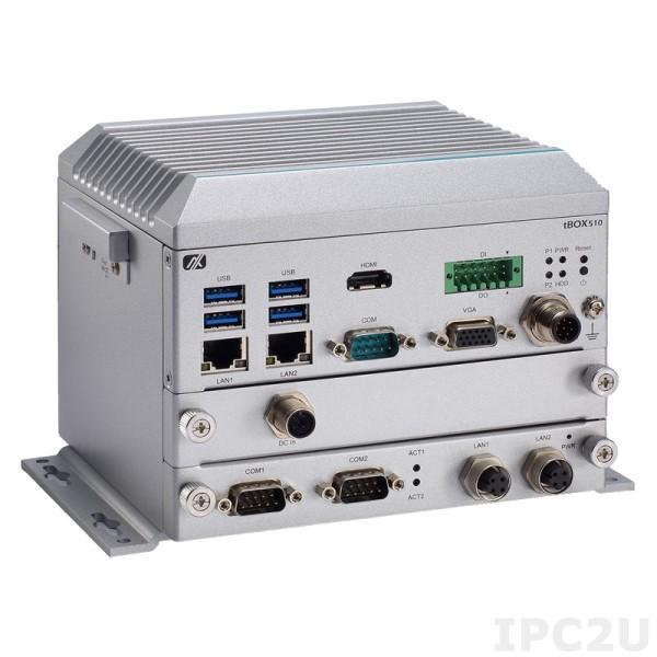 """tBOX510-518-FL-Cel-24-110MRDC Безвентиляторный транспортный компьютер с Intel Cel 3965U 2.2ГГц, 1xDDR4 SO-DIMM, VGA, HDMI, 2xGbE, 2xUSB2.0 (1хM12), 4xUSB3.0, 1xRS232/422/485, 1x изол.DIO, 2x mPCIe, 1xPIM (опция изол. M12 2xLAN, 2xCOM), 1xSIM, CFast, 1x2.5"""", 24..110В (M12) DC"""