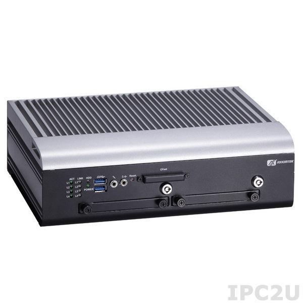 """tBOX312-870-FL-i7-DC Безвентиляторный транспортный встраиваемый компьютер с Intel Core i7-3517UE до 2.8ГГц, 4Гб DDR3, VGA, DVI, 4xPoE, 3xCOM, 1xCAN, слот CFast, 2x2.5"""" SATA HDD, 9...36В DC, -40...70С"""