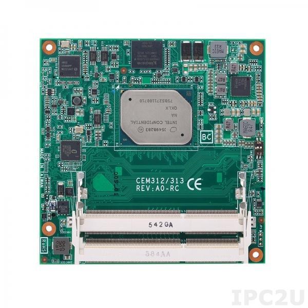 CEM312PG-E3950 Процессорная плата COM Express Type 6 с процессором Intel Atom x7-E3950 2.0ГГц, DDR3L, eMMC, LVDS/2xDDI, GbE LAN, 8xUSB 2.0, 4xUSB 3.0, 2xSATA-600, LPC, SPI, 2xSerial TX/RX, GPIO, 4xPCIe, Audio