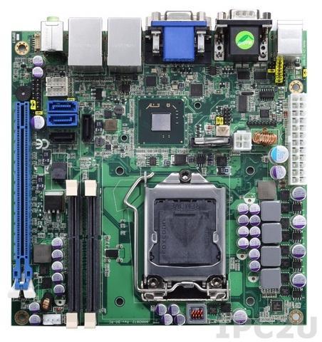 MANO873VGGA Процессорная плата Mini-ITX, LGA 1155, Чипсет Q77, для Intel Core i7/ i5/ i3/ Celeron, VGA/DVI-D, 2xGb LAN, 4xSATA, 4xUSB 3.0, 4xUSB 2.0, 2xCOM