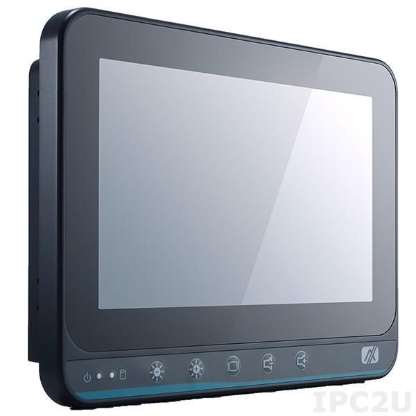 "GOT107W-319-N3350 Безвентиляторный панельный компьютер, 7"" WSVGA дисплей, пр.-емкостный сенсорный экран, Intel Celeron N3350 1.1ГГц, 1xDDR3L SO-DIMM, 2xGbE LAN, 2xCOM, 2xUSB 3.0, Line Out, 1xMini PCIe, mSATA, M.2 Key E, IP65/NEMA 4 по передней панели"