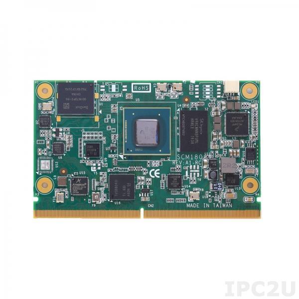 SCM180-Quad-4G-I Процессорная плата SMARC v2.0 SoM с процессором Freescale i.MX8M Quad A53, 4Гб DDR4, 8Гб eMMC, HDMI 2.0, 1xGbE LAN, 2xCOM, 2xCAN 2.0B, 1xUSB 2.0, 2xUSB 3.0, 3xI2C, MIPI CSI/DSI -40...+85С